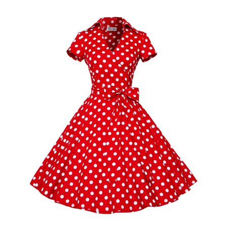 Women Vintage Dress 50S 60S Swing Pinup Retro Casual Housewife Party Ball Gown Fashion Short Sleeve turn-down collar Dresses](50s Girl Fashion)