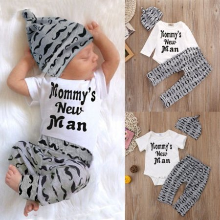 3PCS Infant Baby Boys Newborn Mommys New Man Romper Jumpsuit + Long Pants + Hat Clothes Outfits Sets 0-18M