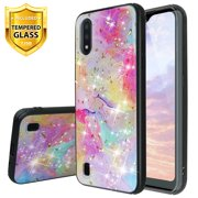 TJS Phone Case Compatible for Samsung Galaxy A01, with [Tempered Glass Screen Protector] Shiny Chrome Flake Glitter Back Skin Full Body Soft TPU Rubber Bumper Drop Protector Case Cover (Rainbow)