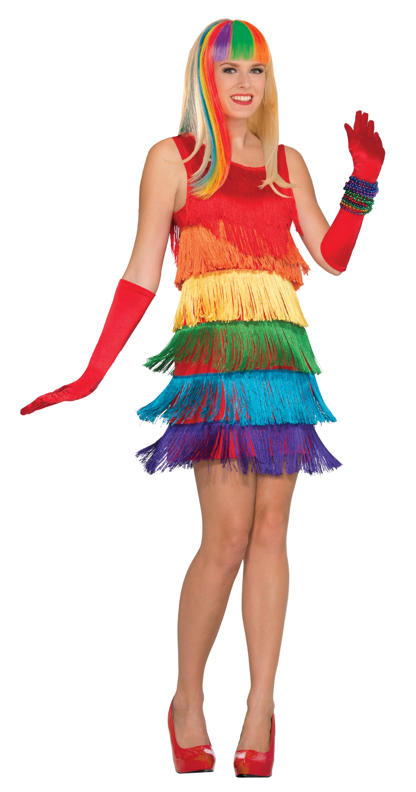 womens rainbow shimmy fancy dress 20s flapper halloween costume fringed std