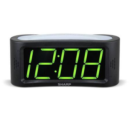 sharp 1 8 led green display alarm clock. Black Bedroom Furniture Sets. Home Design Ideas