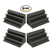 "4 PACK - Acoustic Foam XL Bass Trap Studio Soundproofing Corner Wall 12"" X 6"" X 6""- Made in USA"