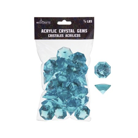 Mega Crafts - 1/2 lb Acrylic Large Diamonds Aqua | Plastic Glass Gems For Arts And Crafts, Vase Fillers And Table Scatters, Decoration Stones, Shiny Pebbles