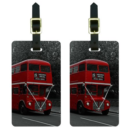 Double Decker Red Bus England Great Britain Luggage Tag Set (Double Decker Set)