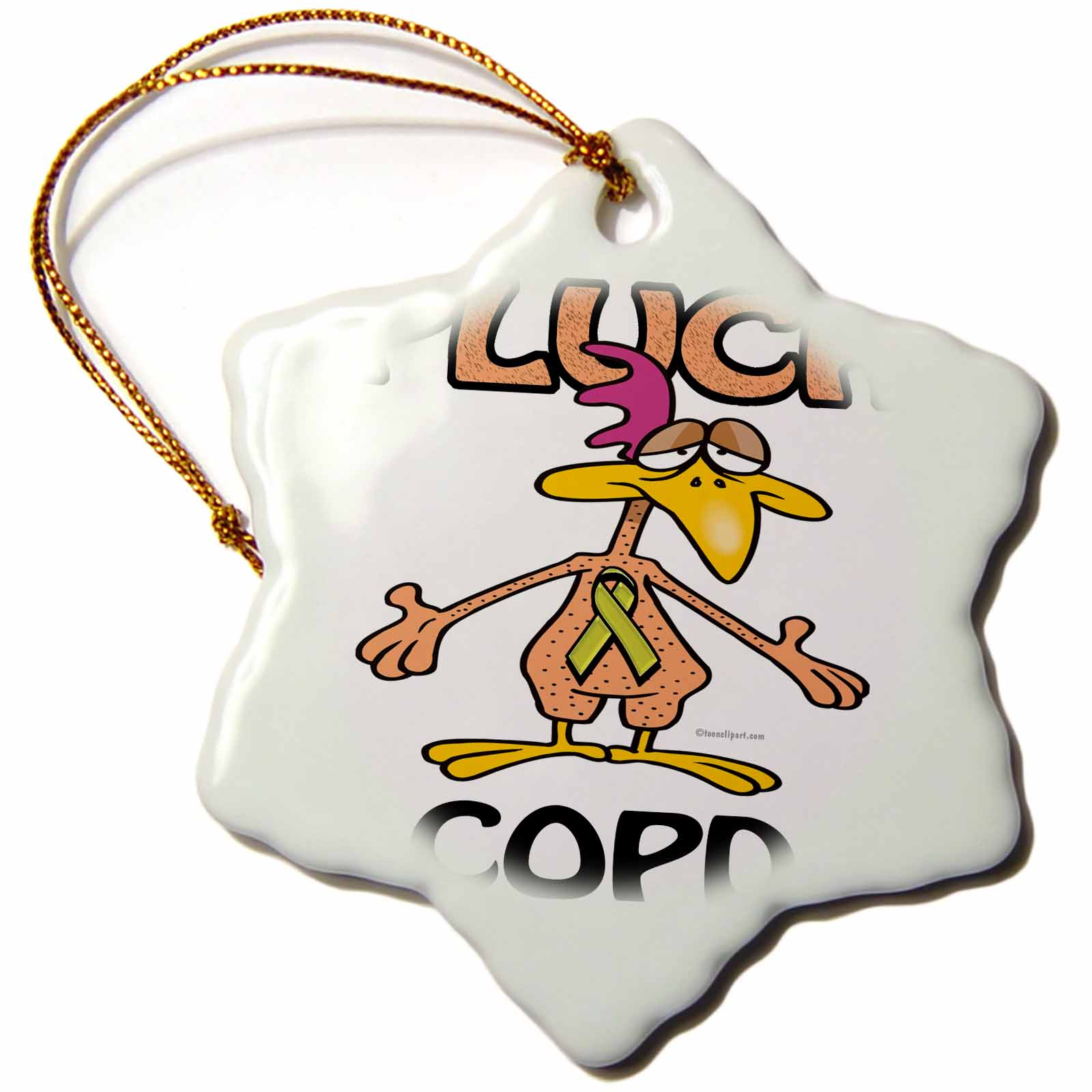 3dRose Chicken Pluck COPD Awareness Ribbon Cause Design, Snowflake Ornament, Porcelain, 3-inch