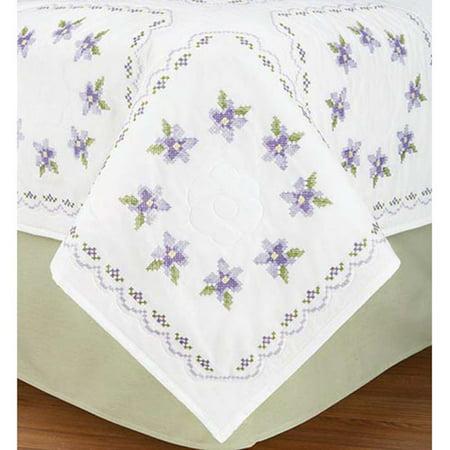 Herrschners Whispering Violets Quilt Blocks Stamped Cross Stitch
