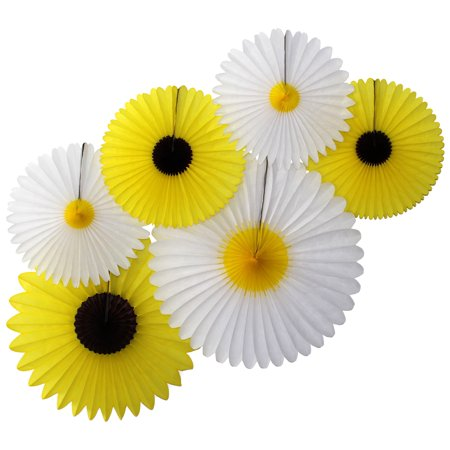 Sunflower Themed Party (Devra Party 6-Piece Set of Tissue Paper Sunflower and Daisy Decorations (13-20)
