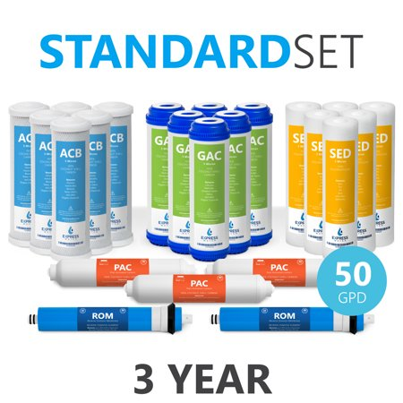 Express Water – 3 Year Reverse Osmosis System Replacement Filter Set – 23 Filters with 50 GPD RO Membrane, Carbon GAC, ACB, PAC Filters, Sediment SED Filters – 10 inch Size Water
