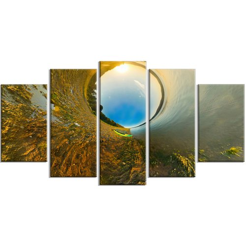 Design Art 'Kayak in River Little Planet' Photographic Print Multi-Piece Image on Canvas