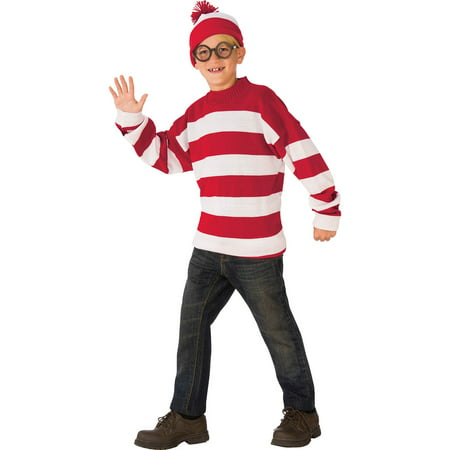 Boy's Deluxe Where's Waldo Halloween (Where's Wally Wenda Costume Large)