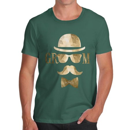 Men's T-Shirt Hipster Groom With Moustache, Top Hat Funny T-Shirts For Men