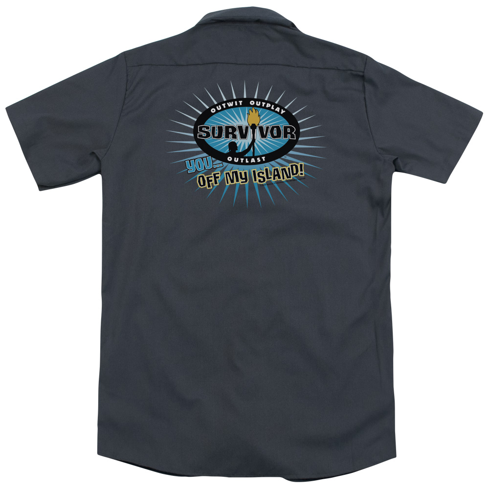 Survivor Off My Island (Back Print) Mens Work Shirt