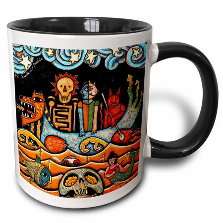 3dRose The Devil s Dream folk art skulls mexican colorful surrealism - Two Tone Black Mug, 11-ounce Colorful Mexican Folk Art