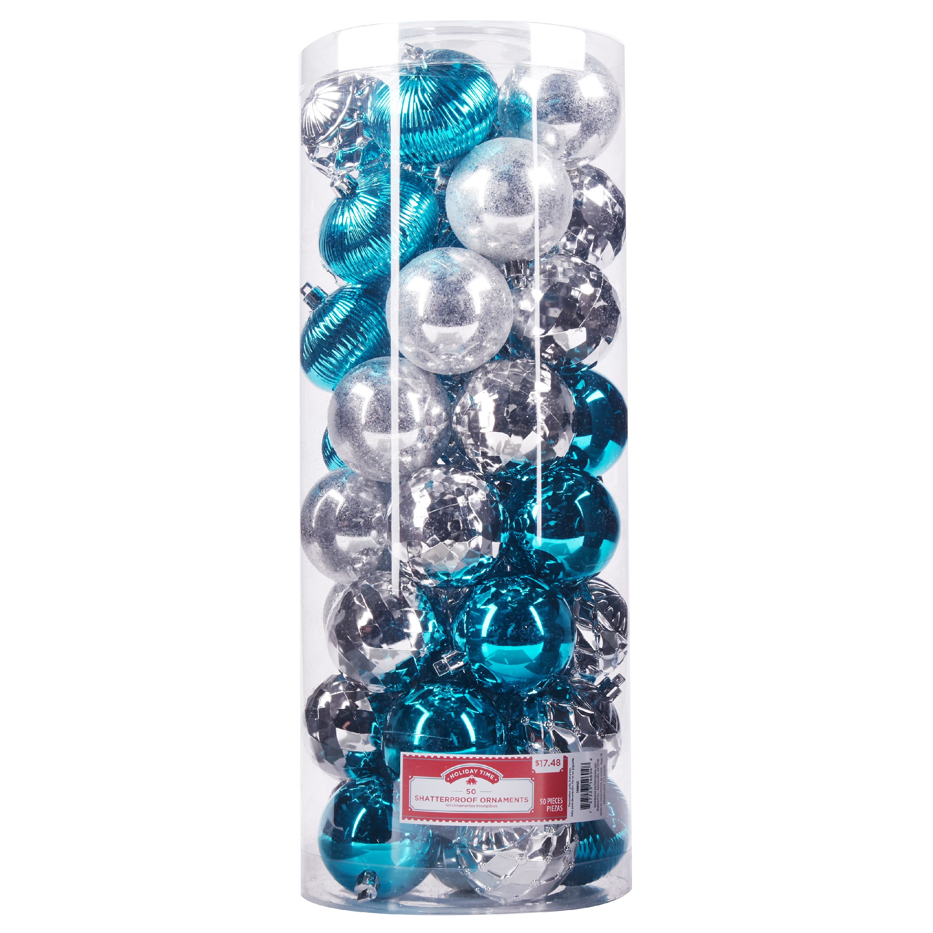Holiday Time Shatterproof Ornaments, Silver & Teal, 50 Count