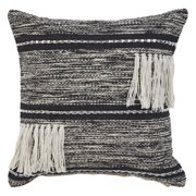 "LR Home Gradient Striped Fringe Black Natural Throw Pillow ( 18"" x 18"" )"