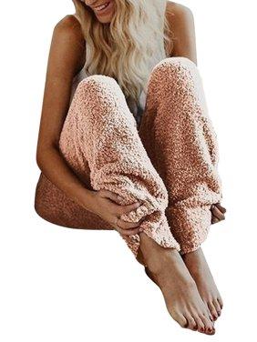 Women's Fleece Fuzzy Pants Winter Warm Cozy Plush Lounge Sleepwear Loose Bottoms Trousers Home Wear S-5XL