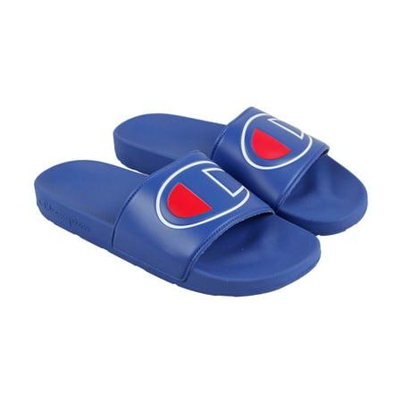 a785cad3fa5 Champion - Champion Ipo Mens Blue Leather Slide Slip On Sandals Shoes -  Walmart.com