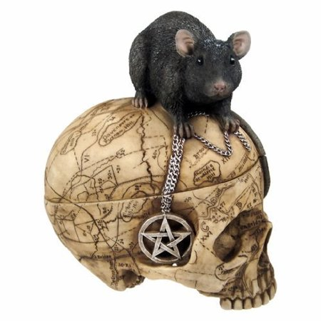Pottery Trinket (PTC Pacific Giftware Salem Witch Witchcraft Skull with Pentagram Pentacle Mouse Jewelry Trinket Box Statue Figurine )