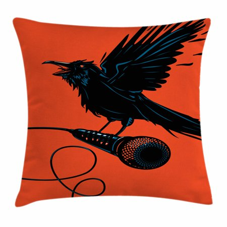 Indie Throw Pillow Cushion Cover, Raven is Holding a Microphone Rock Music Theme Festival Party Gothic Singer, Decorative Square Accent Pillow Case, 18 X 18 Inches, Orange Black Blue, by Ambesonne