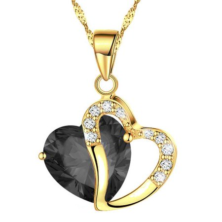 - KATGI Fashion Austrian Gold Plated Black Crystal Heart Shape Pendant Necklace, 18