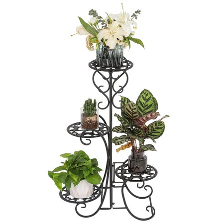 Zimtown 4-Tier 4 Potted Rounded Flower Plant Stand Decoration for Indoor Outdoor Garden Black