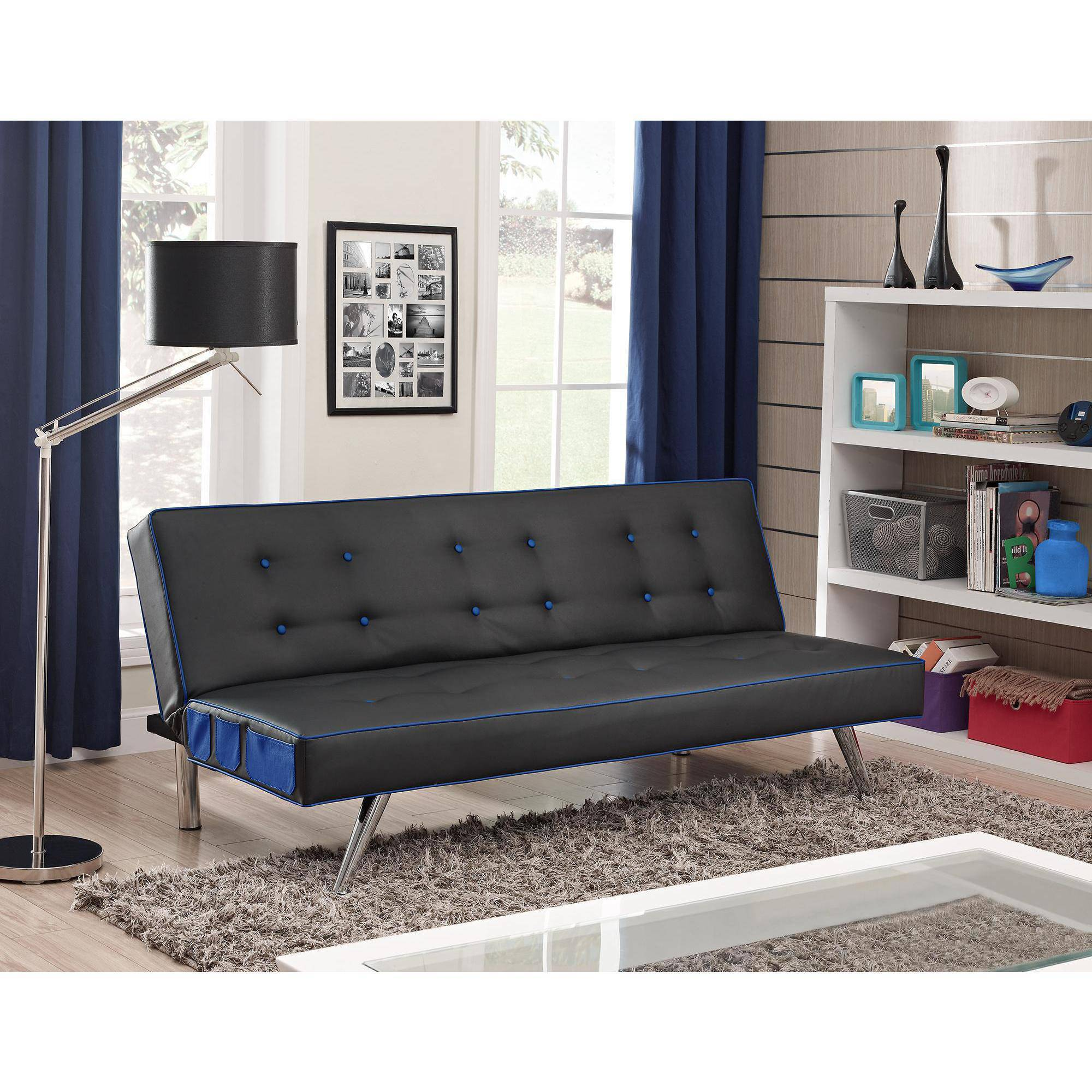 futon for living room contrast piping tufted faux leather futon sofa bed 15952