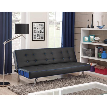 Contrast Piping Tufted Faux Leather Futon Sofa Bed Multiple Colors