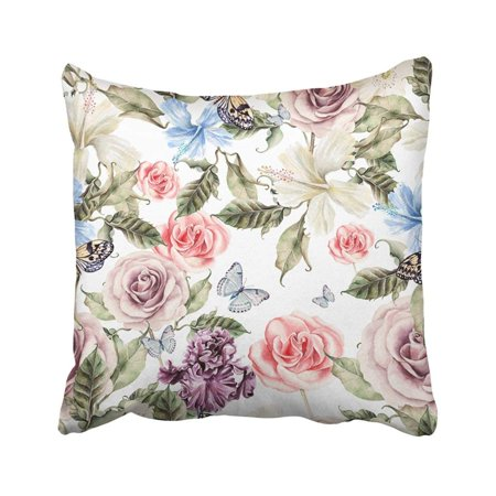 ARTJIA Colorful Pretty Water Color Pattern With Flowers Rose Iris And Hibiscus Pink Botanical Pillowcase Throw Pillow Cover 18x18 inches (Pink Hibiscus)