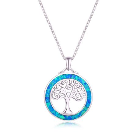 18K White Gold Plated & Blue Opal Tree Of Life Pendant Necklace Gold Plated Opal Necklace