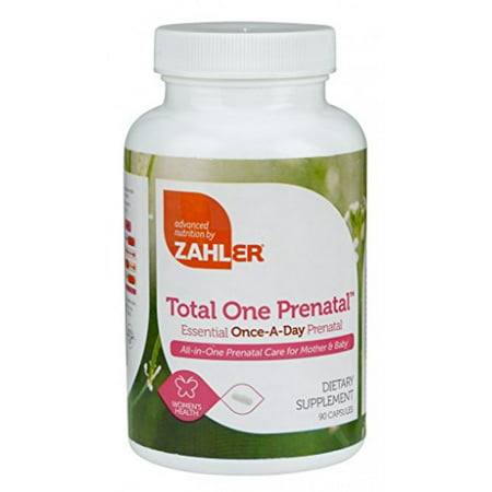 Zahler Total One Prenatal, Contains Folic Acid and Iron, An All-Natural Complete Pregnancy and Breastfeeding Multivitamin Supplement, Just One Capsule a Day,Certified Kosher, 90