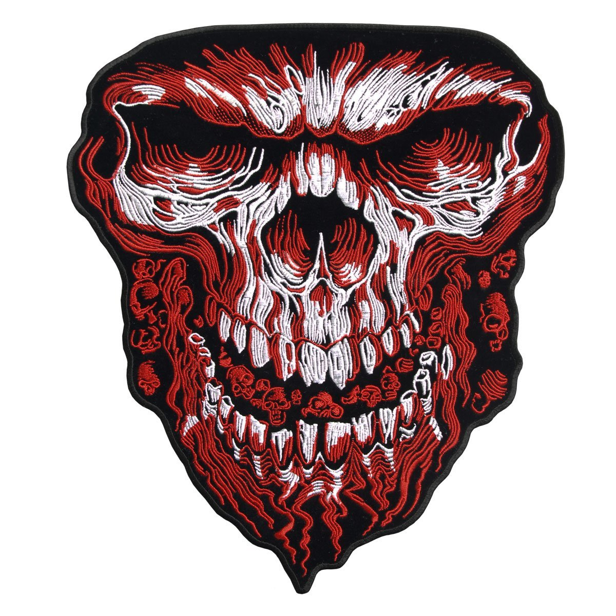 "Giant Skull Red, High Thread Embroidered Iron-on / Saw-on Rayon PATCH - 5"" X 6"""