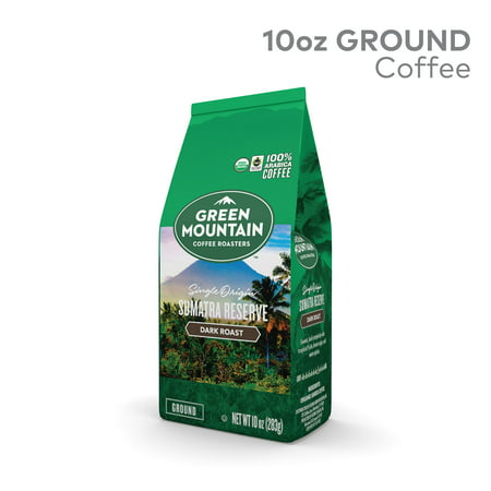 Green Mountain Roasters Roasters, Fair Trade Certified Organic, Sumatra Reserve, Ground Coffee, Dark Roast, Bagged 10oz Organic Fair Trade