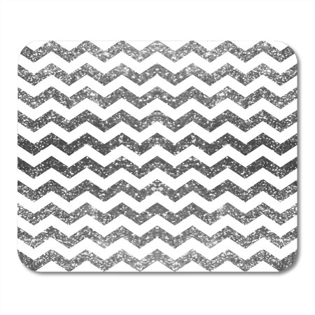 SIDONKU Silver and White Pattern Sparkle Abstract Geometric Modern Shiny of Brilliant Classic Chevron Mousepad Mouse Pad Mouse Mat 9x10 inch