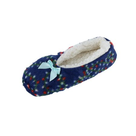 Women's Christmas Holiday Print Ballerina Slippers with Sherpa Fleece - Ruby Slippers Adult