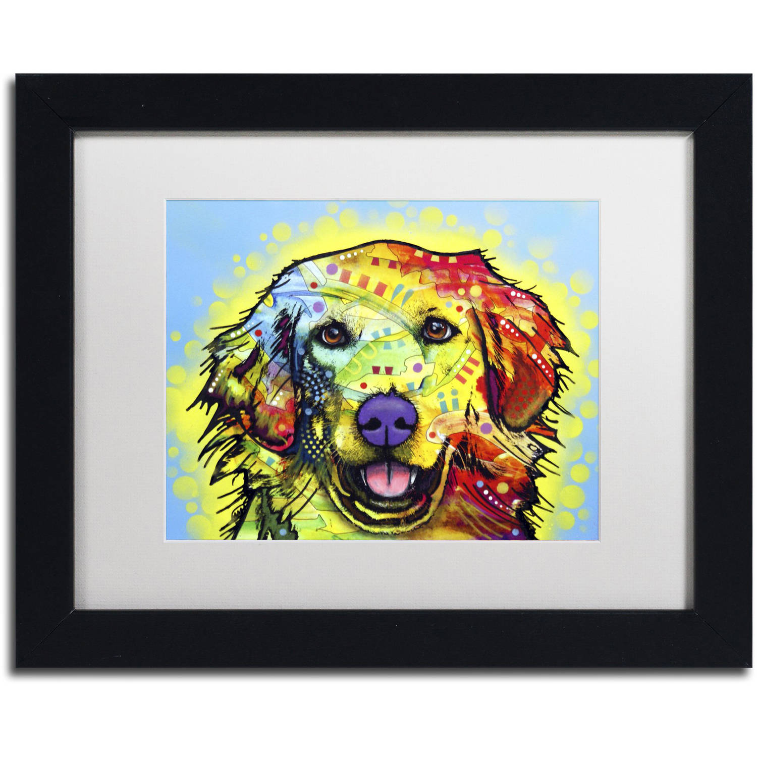 "Trademark Fine Art ""Golden Retriever"" Canvas Art by Dean Russo, White Matte, Black Frame"