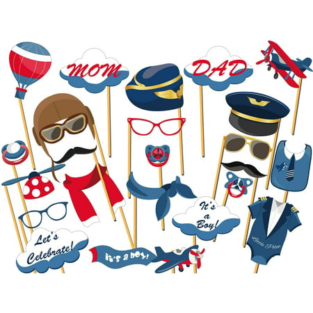 Airplane Pilot Aviator Plane Baby Shower Photo Booth Props Photo Booth Props Size 36x24, Planes Flying Theme Photo Booth Props Cut Outs - Airplane Party Ideas
