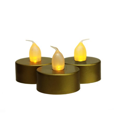 Set of 3 Battery Operated LED Flickering Amber Lighted Gold Christmas Tea Light Candles 1.5