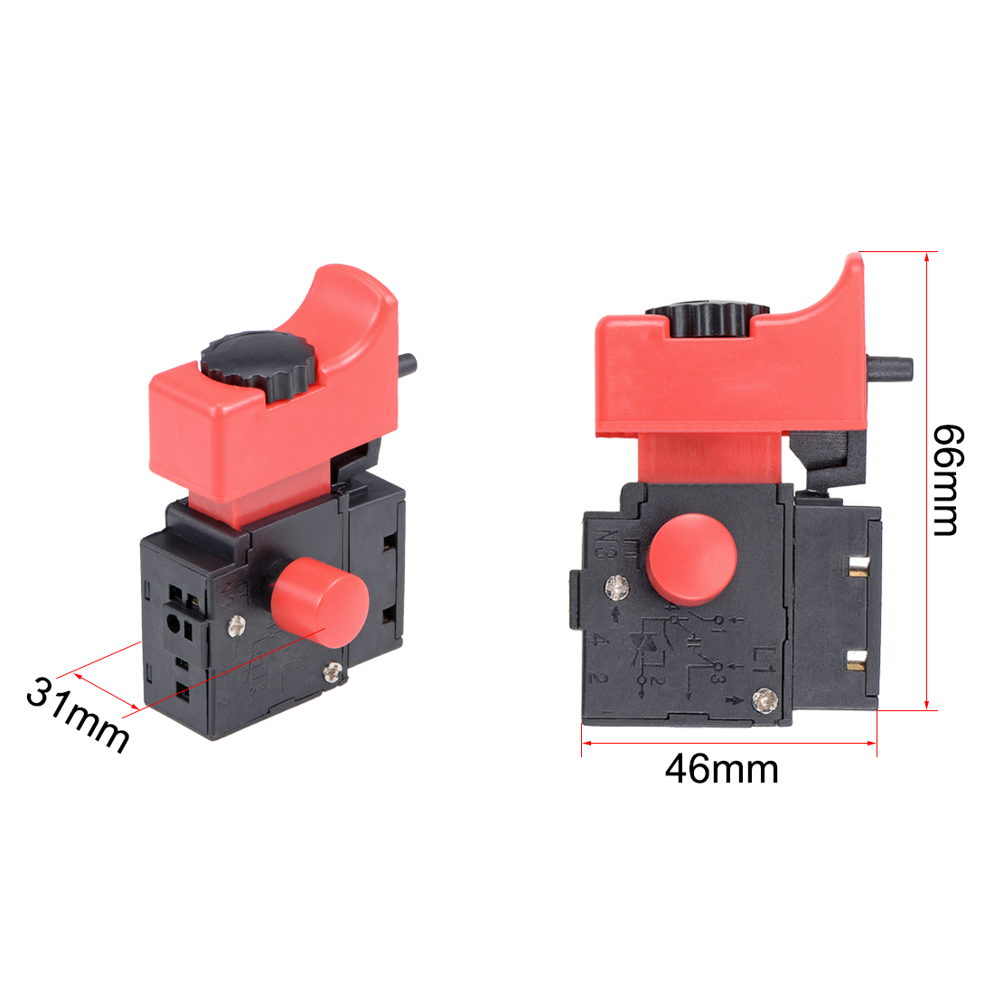 Trigger Switch FA2-6/IBEK Electric Drill Hammer 250V/6A Tool Power Speed Control Push Button Switch - image 3 of 5