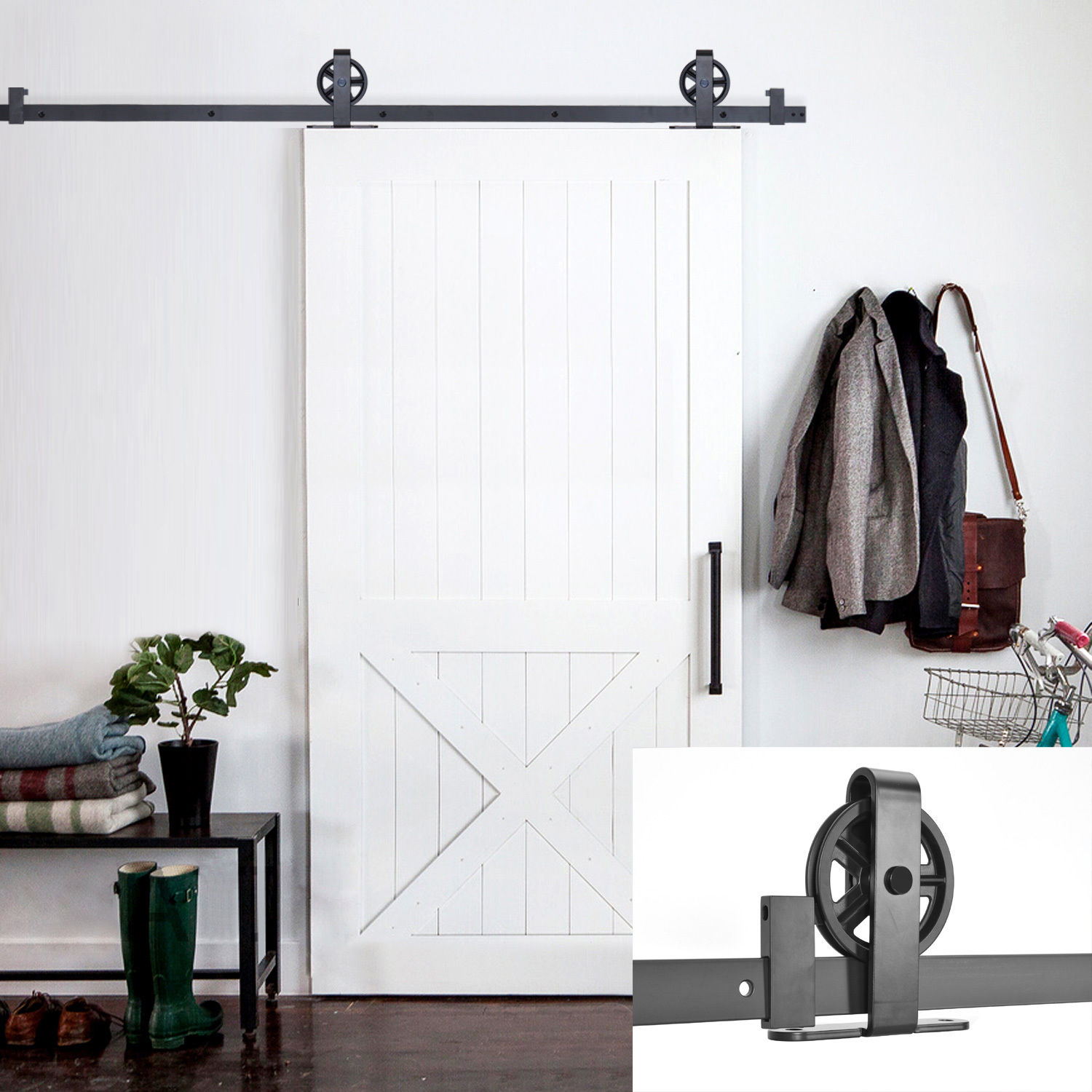 6.6FT Black Vintage Strap Industrial Wheel Steel Sliding Barn Wood Door Hardware