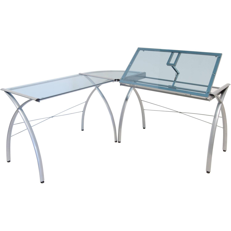 Corner L Shaped Desk Tilt Glass Top Drafting Work Station Craft Board Table Lift