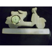 Fine Crafts 491CLK Wooden handmade scooter miniature desk clock