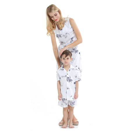 dbc295e88 Matching Mother Son Hawaiian Luau Outfit Women Dress Boy Shirt Only Classic  White Flamingo S-14