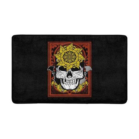 MKHERT Halloween Skull Flower Sword Doormat Rug Home Decor Floor Mat Bath Mat 30x18 inch