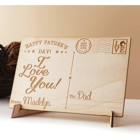 Happy Father's Day Personalized Wood Postcard, I (Decorative Cards)
