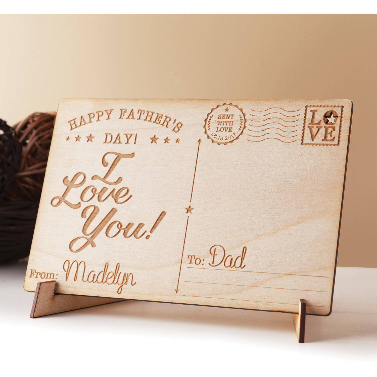 Happy Father's Day Personalized Wood Postcard, I
