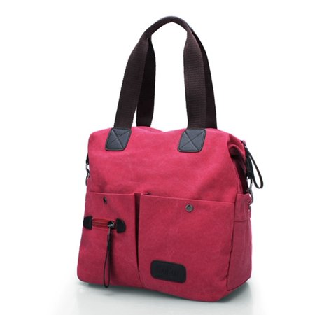 Women Men Canvas Shoulder Messenger School Crossbody Handbag Zip Tote Purse Bag,red color