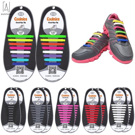 GustaveDesign No Tie Shoelaces for Kids & Adults The Elastic, Silicone Shoe Laces to Replace Your Shoe Strings. Makes Any Sneaker a Quick, Comfy Slip On
