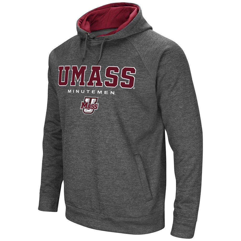 Mens UMass Minutemen Heather Charcoal Pull-over Hoodie by Colosseum