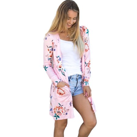 d1eb935f36 Women Boho Floral Cardigans Autumn Long Loose Outwear Coat Jacket Top Plus  Size - Walmart.com