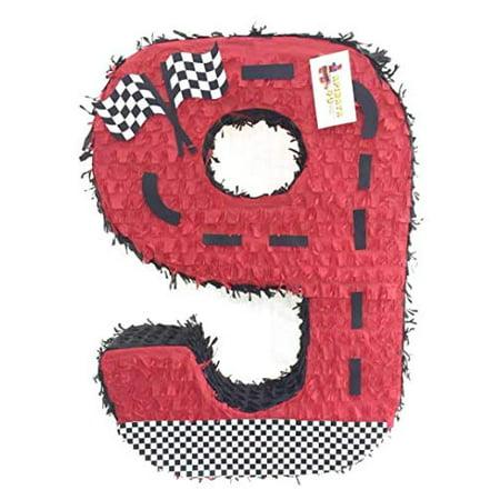 APINATA4U Red Race Car Theme Number Nine Pinata 24